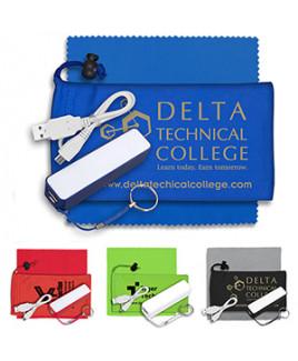 """TechBank"" Mobile Tech Power Bank Accessory Kit in Microfiber Cinch Pouch"
