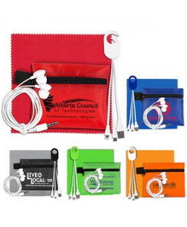 """""""ReCharge Plus"""" Mobile Tech Charging Cables and Earbud Kit in Zipper Pouch."""