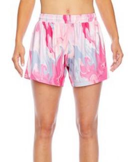 Team 365® Ladies' Tournament Sublimated Pink Swirl Shorts