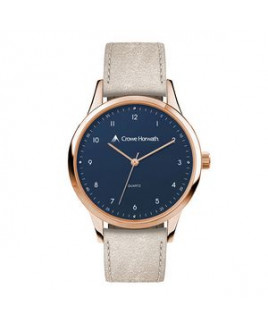 Wc1746 38mm Metal Rose Gold Case, 3 Hand Mvmt, Blue Dial, Leather Strap, Flat Mineral Crystal, 3 Atm
