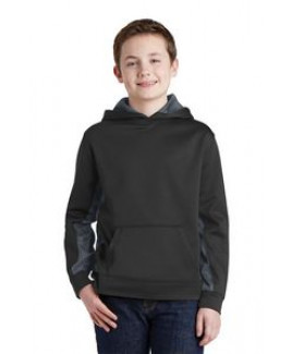 Youth Sport-Wick® Camohex Fleece Colorblock Hooded Pullover