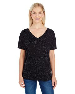 Threadfast Ladies' Triblend Fleck Short-Sleeve Flowy V-Neck T-Shirt