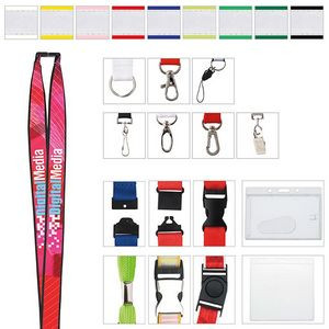 "3/4"" Polyester Lanyard w/ Ribbon (Heat Transfer)"