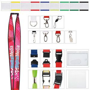 "1"" Polyester Lanyard w/ Ribbon (Heat Transfer)"