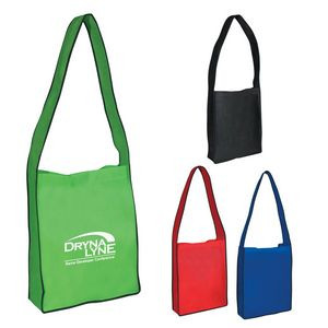 Non-Woven Messenger Tote Bag With Hook And Loop Closure