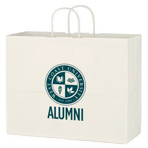 "Kraft Paper White Shopping Bag - 16"" x 12-1/2"""