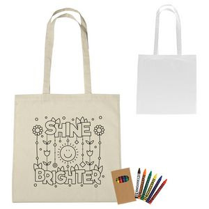 100 percent Cotton Coloring Tote Bag With Crayons