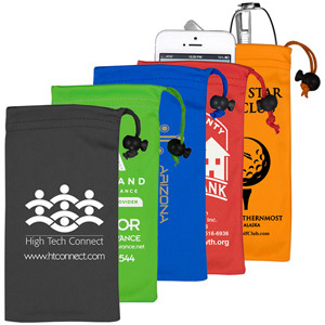 "4"" x 7-1/2"" - ""Clean-n-Carry"" Spot Color Microfiber Drawstring Pouch For Cell Phones (Overseas)"