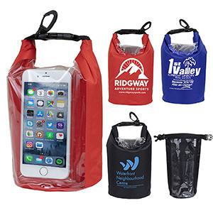 """The Navagio"" 2.5 liter Water Resistant Dry Bag w/ Clear Pocket Window"