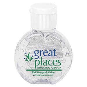 """CirPal"" 1 oz Compact Hand Sanitizer Antibacterial Gel in Round Flip-Top Squeeze Bottle"