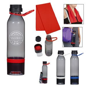 22 Oz. Energy Sports Bottle With Phone Holder and Cooling Towel