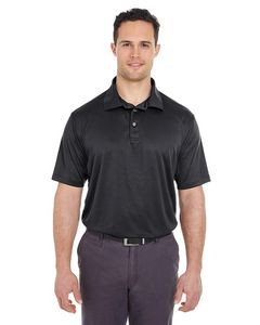 UltraClub® Men's Cool & Dry Jacquard Stripe Polo Shirt