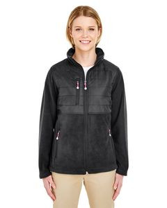 UltraClub® Ladies' Fleece Jacket w/Quilted Yoke Overlay