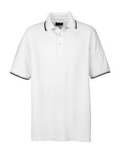 UltraClub® Men's Short-Sleeve Whisper Piqué Polo Shirt w/Tipped Collar & Cuffs