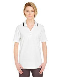 UltraClub® Ladies' Short-Sleeve Whisper Piqué Polo Shirt w/Tipped Collar & Cuffs