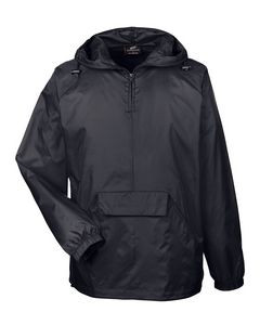 UltraClub® Adult Quarter-Zip Hooded Pullover Pack-Away Jacket
