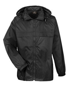UltraClub® Adult Full-Zip Hooded Pack-Away Jacket