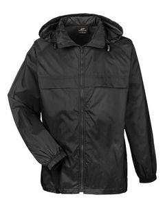 UltraClub® Adult Full-Zip Hooded Pack-Away Jacket