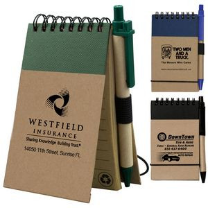 """Arcata"" Recycled Jotter Notepad Notebook w/Matching Color Recycled Paper Pen (Overseas)"