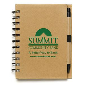 """Cruz"" Larger Size Recycled Jotter Notepad Notebook w/Recycled Paper Pen"