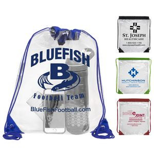 """""""Everest"""" Tall Clear Drawstring Cinch Pack Backpack"""