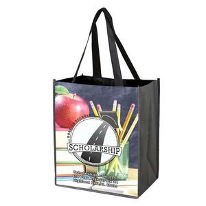 """""""Outlet"""" Full-Color Glossy Lamination Grocery Shopping Tote Bag (Overseas)"""