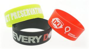 Broad Recycled Silicone Wrist Band w/Debossed Logo