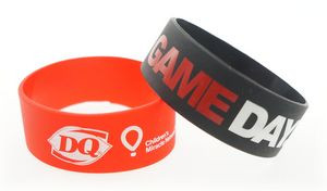 Broad Recycled Silicone Wrist Band w/Printed Logo
