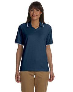 Devon & Jones® Ladies' Tipped Perfect Pima Interlock Polo Shirt