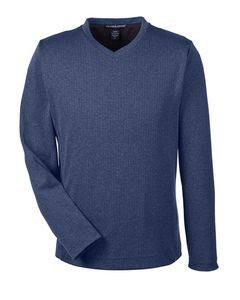 Devon & Jones® Men's Fairfield Herringbone V Neck Pullover Sweater