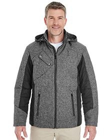 DJ Classic Men's Midtown Insulated Fabric-Block Jacket w/Crosshatch Mélange