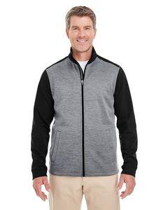 Devon & Jones® Men's Newbury Colorblock Mélange Fleece Full-Zip Sweater