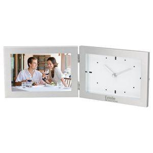 """Aluminum Hinged Photo Frame & Clock (Holds 6""""x4"""" Photo)"""
