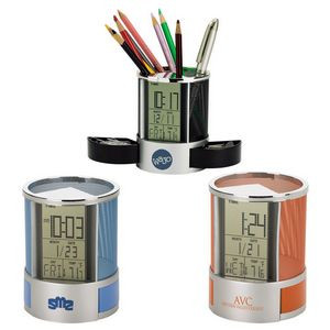 Impressa Desk Organizer with Multi Function Clock