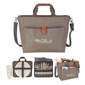 Del Mar 4 Person Picnic Carry Set w/Cooler Tote Bag
