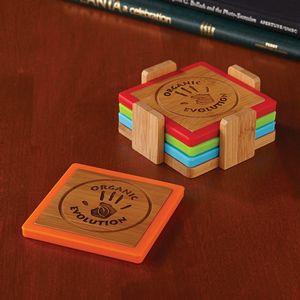 Bamboo and Silicone Coaster Set