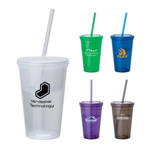 16 oz. Colorful Tumbler w/ Matching Lid & Straw