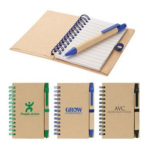 Recycled Notebook & Pen w/ Contrast Trim