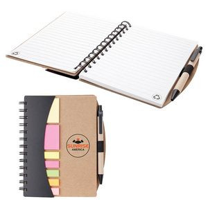 Eco Friendly Notebook w/ Pen, Flags & Sticky Notes