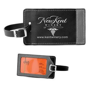 """Tomcat"" Two-Tone Leatherette Black & Gray ID Slip-In Luggage Bag Tag (Overseas)"