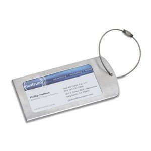 """Prestige"" Brushed Metal Luggage Bag Tag (Overseas)"
