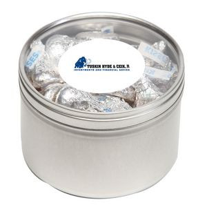 Hershey kisses in Large Round Window Tin