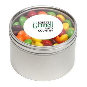 Skittles in Large Round Window Tin