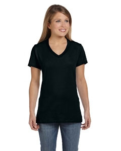 Hanes Ladies' 4.5 Oz. 100 percent Ring Spun Cotton nano-T® V-Neck T-Shirt