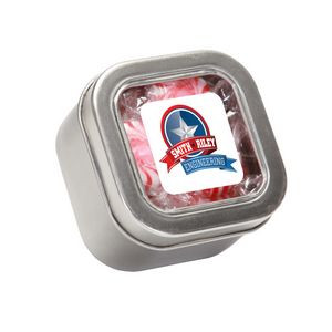 Striped Peppermints in Small Square Window Tin