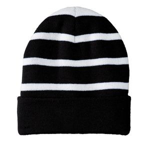 Sport-Tek® Striped Beanie w/Solid Band