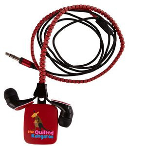 Zipper Ear Buds with Pull - Red