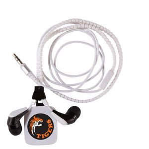 Zipper Ear Buds with Pull - White