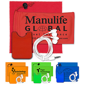 """""""TuneBoom Lux"""" Mobile Tech Earbud Kit w/Microfiber Cloth in Cinch Pouch"""