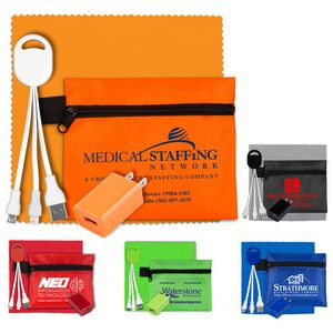 """""""TechPouch Plus"""" Tech Home & Travel Kit w/Cleaning Cloth, Wall Charger, & Charging Cables w/ Pouch"""